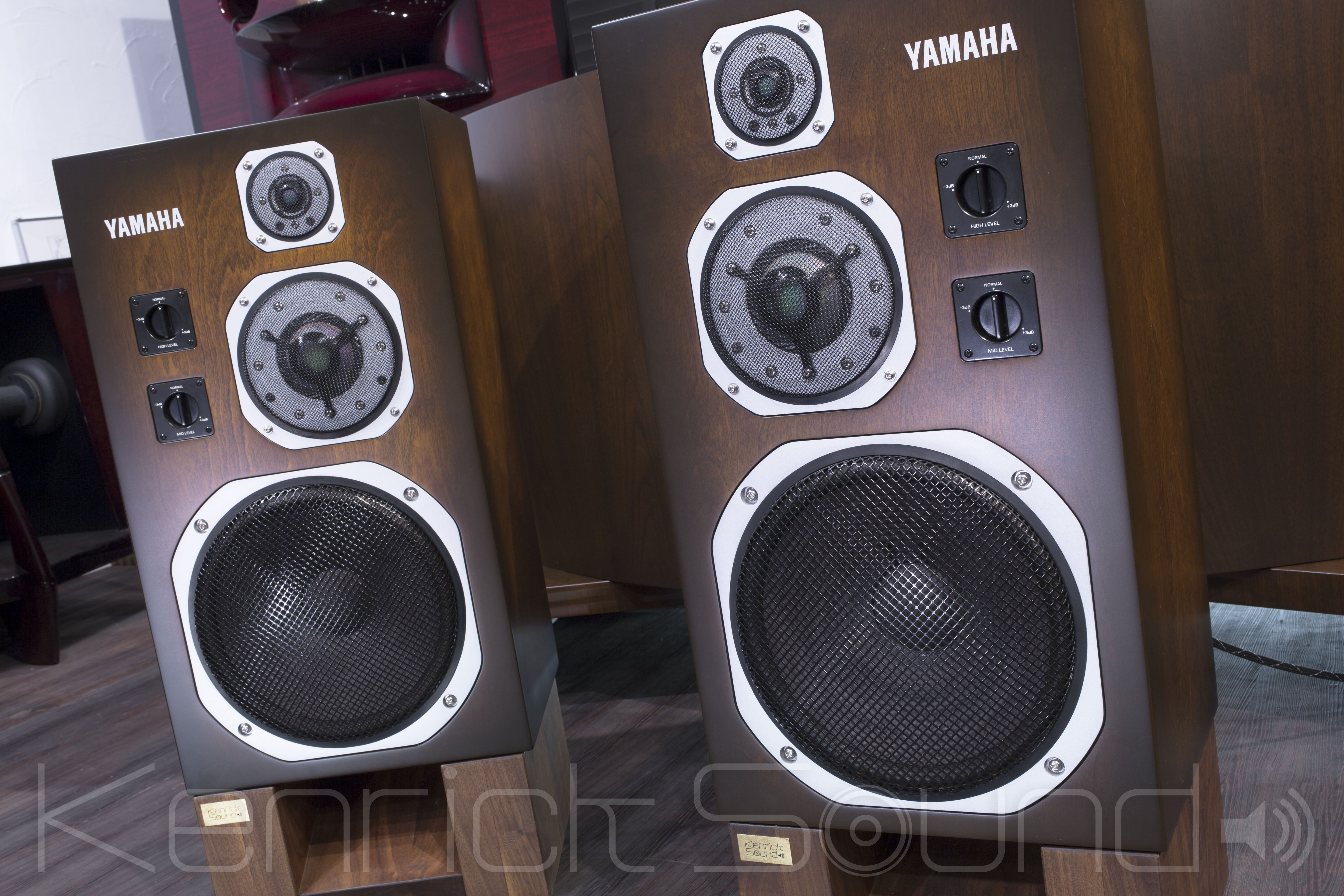 Awesome Yamaha Ns 1000m Speakers Walnut Sunburst